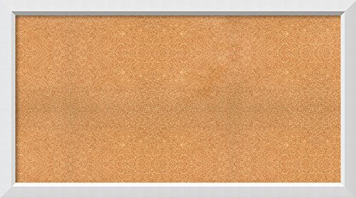 """Framed Cork Board, Choose Your Custom Size, Blanco White Wood: Outer Size 54 x 30"""""""