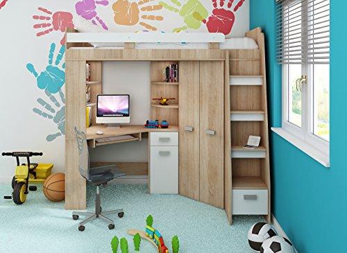 Hochbett Etagenbett Mit Schreibtisch : Amazon hochbett etagenbett entresole alle in einer rechts