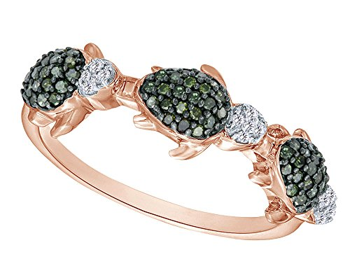 Wishrocks Round Cut Green & White Natural Diamond Three Turtle Ring in 14K Rose Gold Over Sterling Silver