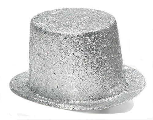 Unisex-Adults Glitter Top Hat, Silver, Standard]()