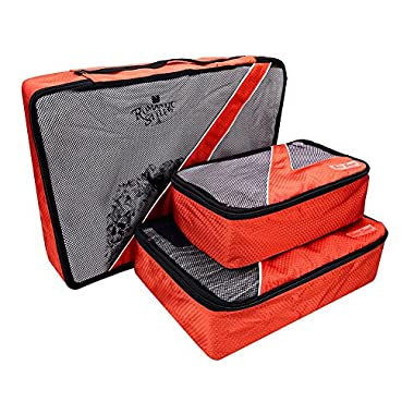 Travel Packing Cubes - 3 pc Set - Packing Organizers for Accessories(Orange)