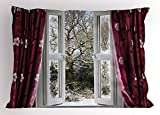 Ambesonne House Decor Pillow Sham, Open Window with View to a Snowy Winter Scene Pattern Curtain Drapes Frosty, Decorative Standard Queen Size Printed Pillowcase, 30 X 20 inches, Maroon White