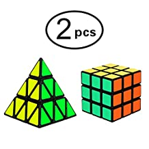 Imcolorful Pyraminx Pyramid Speed Cube 3x3x3 Magic Cube Puzzle Cyclone Triangle Toy Smooth 2PCS (Speed Cube 4)