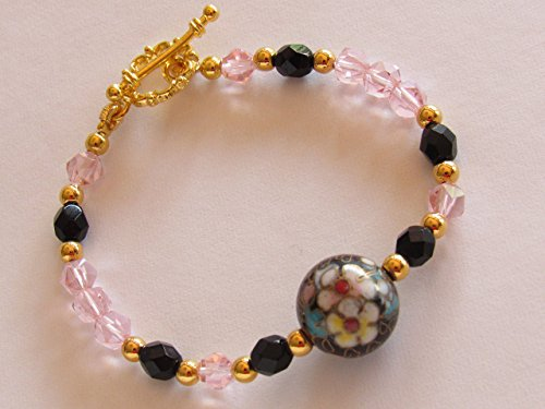 Vintage Chinese Cloisonne Focal Bead Bracelet with onyx and pink luster beads