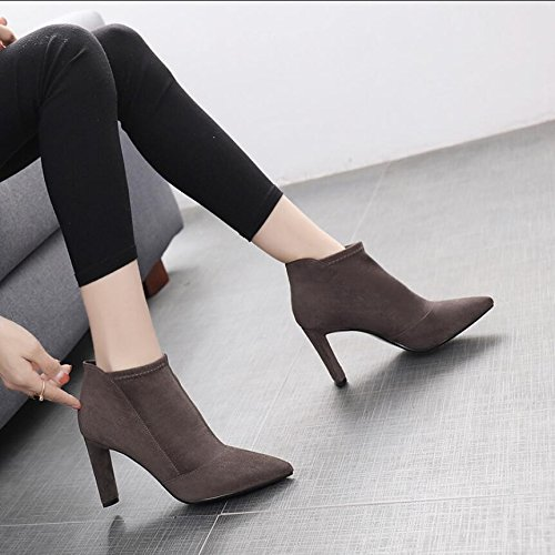 Gray Satin Tip The KHSKX Comfortable With Heeled The 5Cm Girl Korean Winter Boots 8 Version Sleeve Tide New Of Boots Martin Boots High 35 Thick UrFAZUq