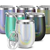 Vacuum Insulated Travel Wine Tumbler - THILY Stainless Steel 12 oz Stemless Wine Glass with Leakproof Lid, Reusable Straw, Silicone Bottom, Cute Gift Christmas Birthday for Men Women, Glitter White