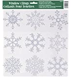 Silver Glitter Snowflake Window Cling Sheet