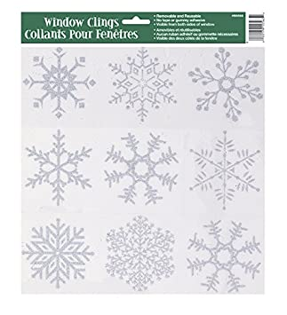 Amazoncom Silver Glitter Snowflake Window Cling Sheet Kitchen - Snowflake window stickers amazon