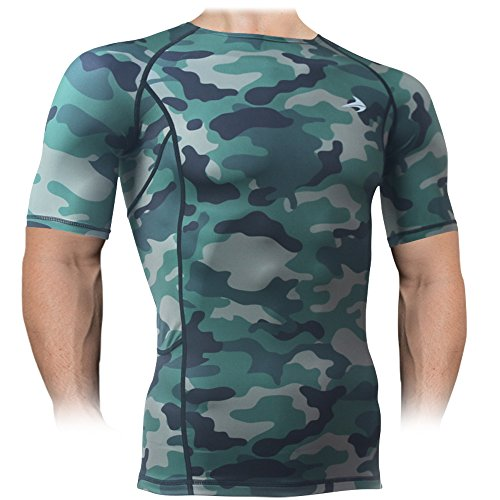 Compression Shirt Short Sleeve Top (Camouflage S) Best Running T-Shirt & Basketball Men's Tee