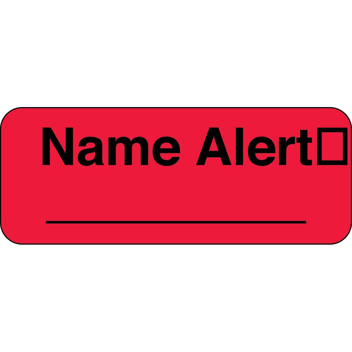 PDC Healthcare 59702053 Paper Label, Fluorescent Red Label with Black Text, ''Permanent Name Alert'', 2.25'' Width x 0.875'' Length (Roll of 1000)