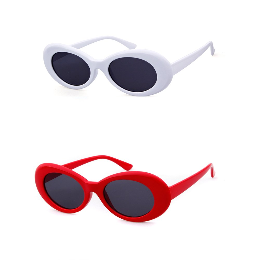 Bold Retro Oval Mod Clout Goggles Thick Frame Kurt Cobain glasses (2pack White&Red, 52)