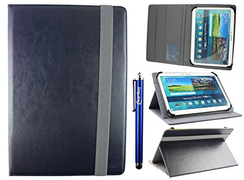Emartbuy Universal 10-11 Inch Midnight Blue Multi Angle Folio Wallet Case Cover with Card Slots Grey Elastic Strap and Stylus Pen Suitable for Selected Devices Listed Below