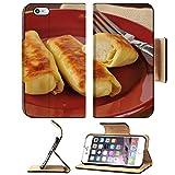 MSD Premium Apple iPhone 6 Plus iPhone 6S Plus Flip Pu Leather Wallet Case Golden potato blintzes closeup on a colorful plate IMAGE 21999560