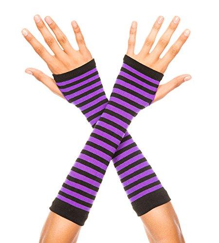 MUSIC LEGS Women's Opaque Stripes Arm Warmer, Black/Purple, One Size
