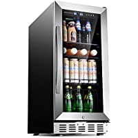 "Sinoartizan ST-33BC 76 Can Compressor Beverage Cooler 15"" Built-In or Freestanding Refrigerator with 3 functional removable shelves,Lock and Double-Layer Tempered Glass Door"