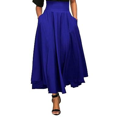TOOGOO Jupe longue plissee evasee a taille haute de couleur unie avec  ceinture pour les femmes bda9dd2d2a5