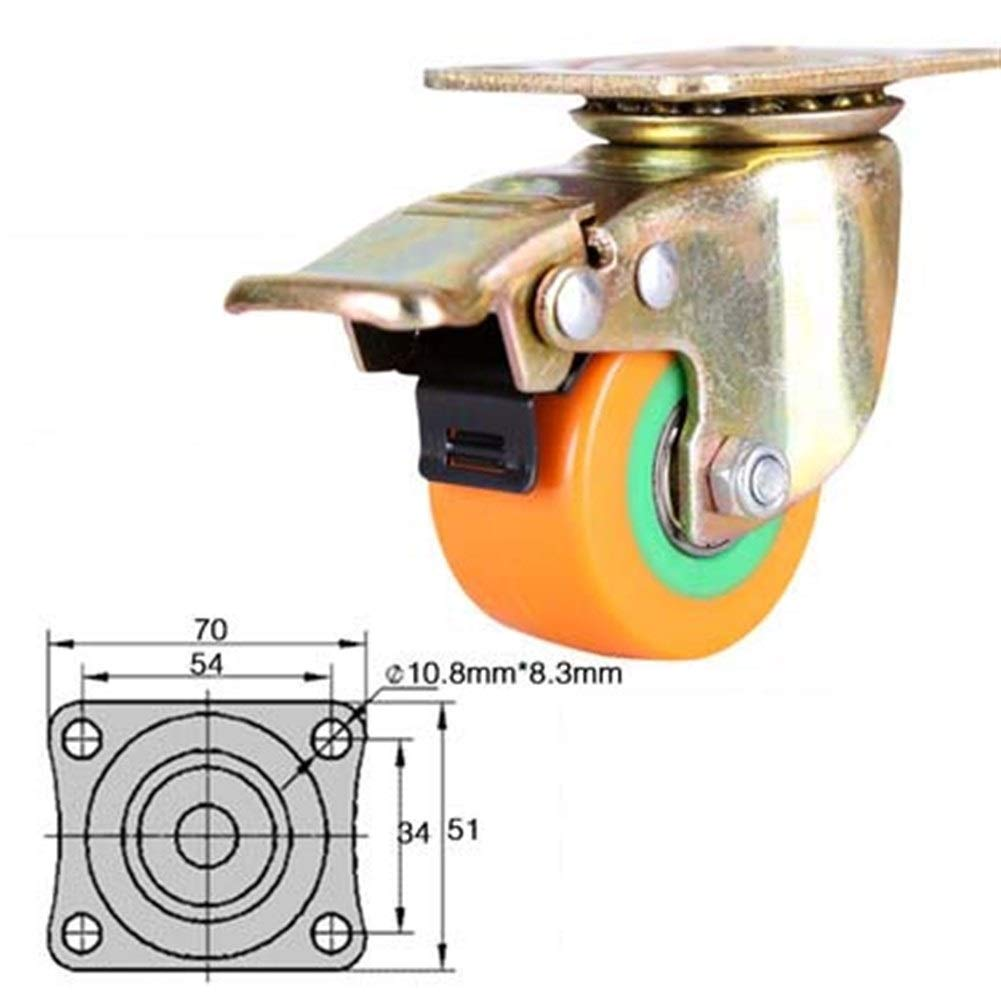Color : C Byrhgood Universal Wheel Heavy Duty Casters With Brakes Pulleys
