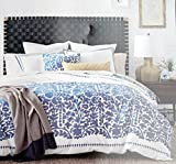 DwellStudio 3 Piece Luxury Cotton Percale Full / Queen Duvet Cover Geometric Block Floral Leaves Pattern Blue on White -- Oaxaca