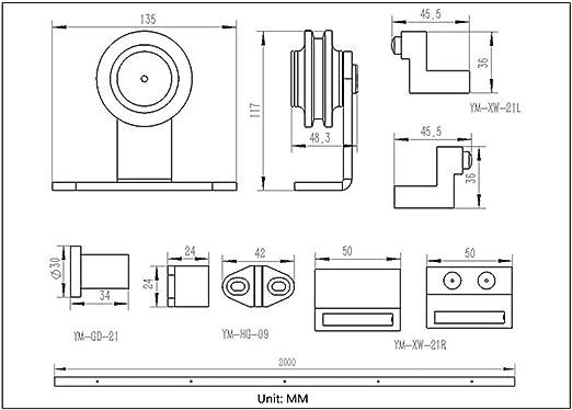 Deslizante juego de herrajes de puerta de granero, Track System Garaje Armario de acero al carbono plano, Bypass puerta corrediza de Kit Pista (Size : 3.4M-Double doors(splice)): Amazon.es: Bricolaje y herramientas