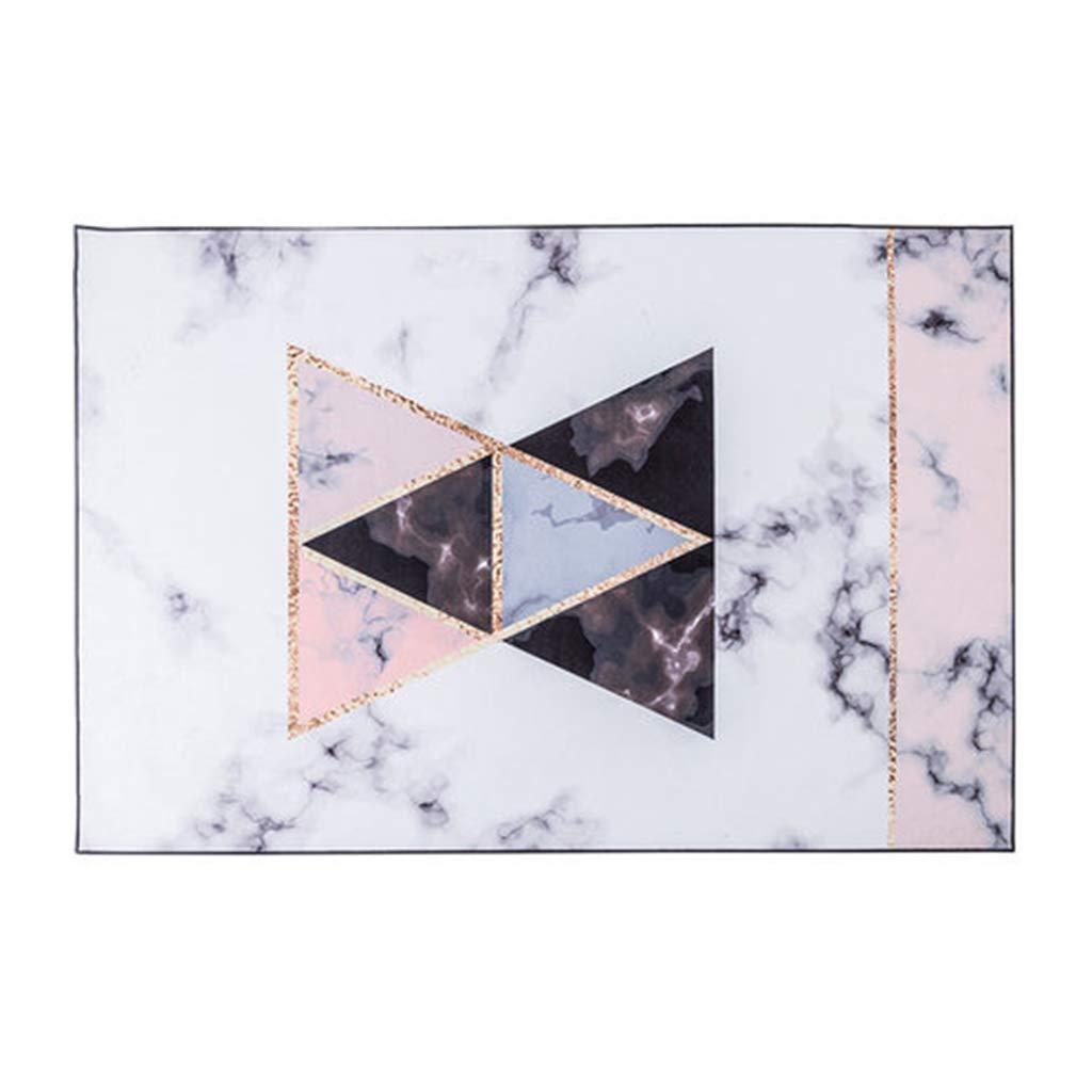 カーペット大理石のフロアマット北欧スタイルのメダル大理石のカーペットゴールドピンクの三角形の高級高級ナイロンモザイクカーペット (Color : PINK, Size : 160*230CM) 160*230CM PINK B07S32NRDK