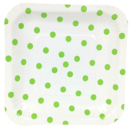 Just Artifacts Square Paper Party Plates 7.25in (12pcs) - Green Apple Polka Dot - Decorative Tableware for Birthday Parties, Baby Showers, Grad Parties, Weddings, and Life Celebrations!