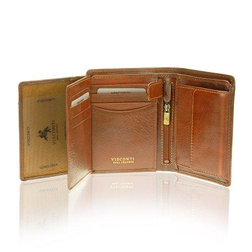 Visconti Tuscany 44 Secure RFID Blocking Genuine Leather Wallet (Tan)
