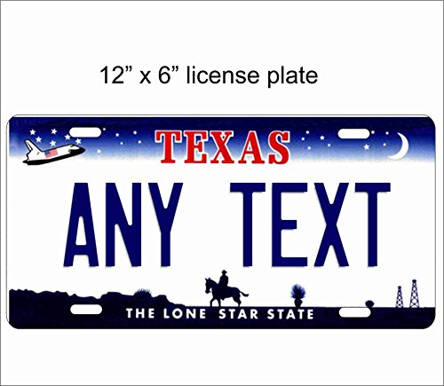 Texas State Replica Novelty License Plate for Auto, Mini License Plate For Bicycles, Bikes, Wheelchairs, Golf Carts personalized with your Text custom vanity Decorative (Custom Vanity)