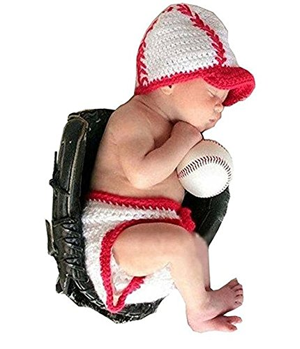 Pinbo Baby Infant Photography Prop Costume Baseball Crochet Knitted Hat -