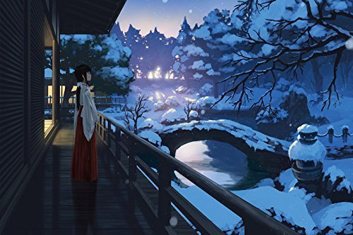 (Poster Panel ( Art & Anime Painting ) Folds in half H10.9 x W15.7 Wooden Folding Screen Prints On Japanese Paper 【 Snow Garden 】)