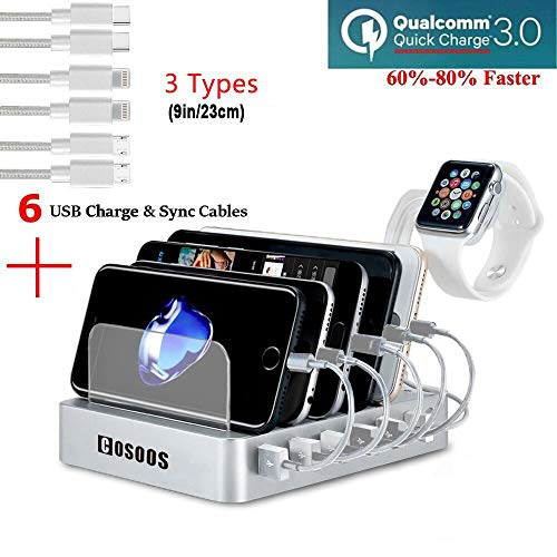 COSOOS Fastest Charging Station with QC 3.0 Quick Charge,6 USB Cables(3 Types),l Watch Holder,6-Port Charger Station Organizer,Charging Docking Stand for Multiple Devices,Phones,Tablets(Silver White)