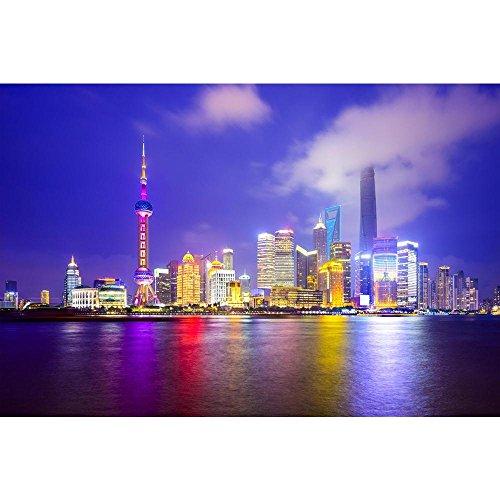 (Pitaara Box Shanghai City Skyline of Pudong District, China D2 Peel & Stick Vinyl Wall Sticker 42 X 28Inch)