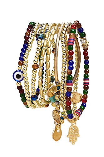 Aris Huge Stack Bohemian Beaded & Charm Stretch Bracelet Bundle: Bangles & Bag (Evil Eye Jewel Tones)