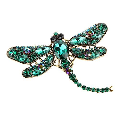 Polytree Women Dragonfly Crystal Brooch Lovely Rhinestone Scarf Pin Jewelry - Green ()