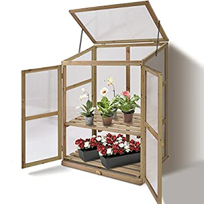 KCHEX>Garden Portable Wooden Greenhouse Cold Frame Raised Plants Shelves Protection>This Large, Solid Wooden Greenhouse is Perfect for Extending Your Growing Season and Protecting Your Plants. from KCHEX