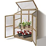 Giantex Garden Portable Wooden Cold Frame Greenhouse Raised Flower Planter Protection (30.0″X22.4″X42.9″) For Sale