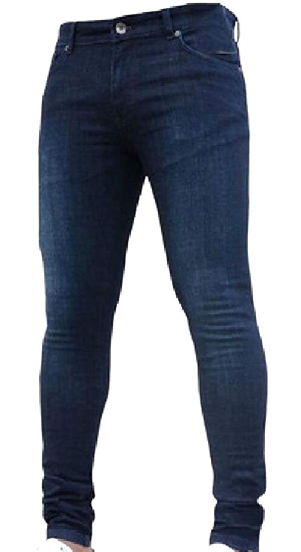 RRINSINS Mens Stretch Skinny Slim Fit Jeans Washed Cotton Denim Pants