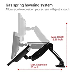 Loctek Monitor Arm Dual Monitor Mounts Stand Support, Full Motion swivel gas spring for 10''-27'' LCD Computer vesa Monitor (Dual Arm Desk Mount)