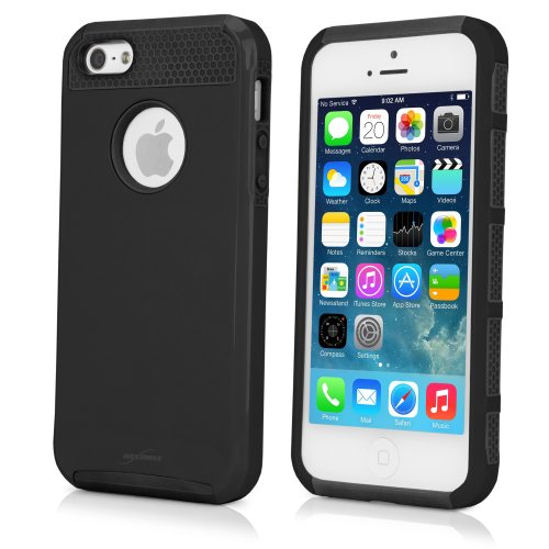 BoxWave DuoColor Apple iPhone 5s Coque hybride en Silicone et plastique rigide pour Apple iPhone 5s avec des étuis et housses (Noir/Noir)