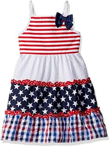 Youngland Girls' Americana Stars and Stripes Mixed Seersucker Sundress