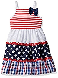 Youngland Little Girls\' Americana Stars and Stripes Mixed Seersucker Sundress, Red/White/Blue, 4