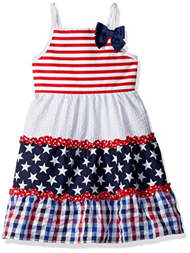Youngland Girls Americana Stars and Stripes Mixed Seersucker Sundress