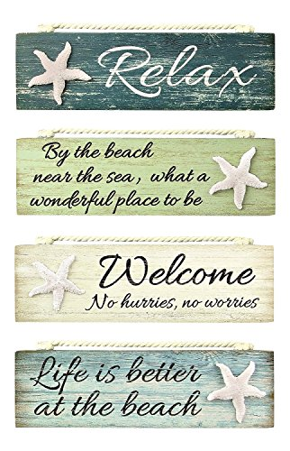 Relax By the Beach Welcome Life is Better Painted Wood Block Signs Set of -