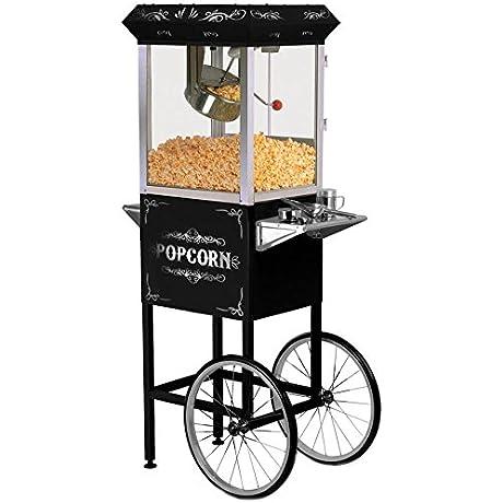 Elite EPM 300 2 In 1 Black Vintage Popcorn Trolley Cart 8oz Popcorn Maker Machine Popper