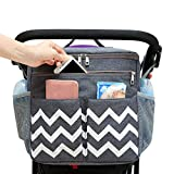 Conleke Luxury Stroller Organizer,Baby Stroller Accessories, Universal Parents Diaper Stroller Bag,Travel Bag W/ Removable Shoulder Strap for Carrying Bottles,Diapers,Cup Holder&Storage Pockets,Fits Most Baby Strollers (F-Grey,White Waves)