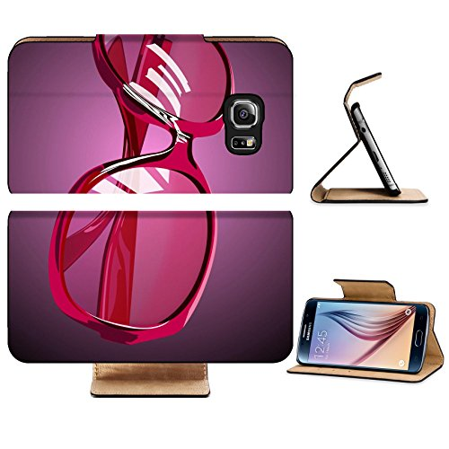 Luxlady Premium Samsung Galaxy S6 Edge Flip Pu Leather Wallet Case IMAGE ID 7965239 pink sunglasses
