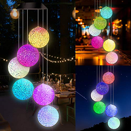 Solar Wind Chimes Outdoor, Colors Changing & Solar Powered Ball Wind Chime, Energy Saving and Waterproof Memorieal Wind Chimes, Solar Light Mobile for Yard, Garden, Outdoor Decor, Gifts for Mom (Electric Wind Chime)