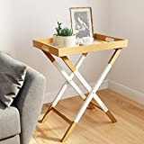 Universal Experts FUST10026A Remus Folding Tray Table, Oak/White For Sale