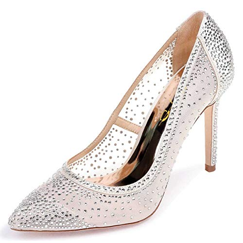 XYD Women Rhinestones Studded Stiletto High Heels Mesh Pumps Pointed Toe Evening Dress Shoes Size 9.5 Beige+Silver