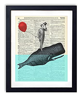 A Whale Of A Good Time - Whale Poster Whale Prints Wall Art Home & Bathroom Decor Nursery Decor Upcycled Vintage Dictionary Art Print 8x10