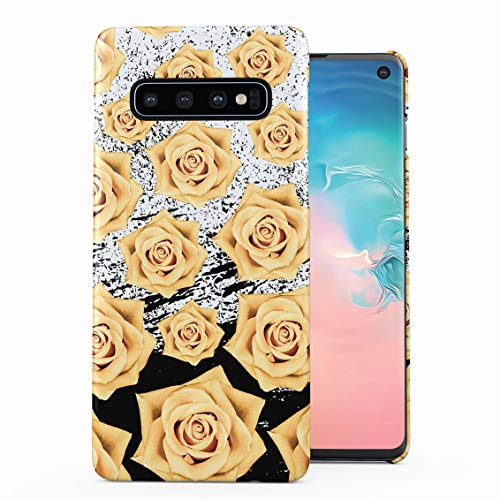 (Yellow Dried Rose Blossom Pattern & Black Ink Splash Plastic Phone Snap On Back Case Cover Shell Compatible with Samsung Galaxy S10 Plus)